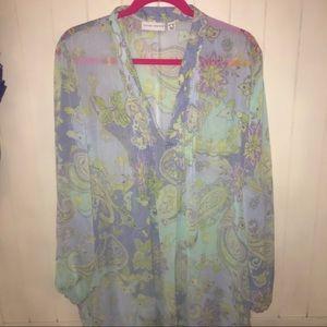 Susan graver sheer shirt 2xl